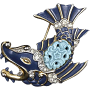 Trifari 'Alfred Philippe' Ming Blue Enamel, Rhinestone, and Carved Faux Blue Stone Fish Pin Clip.