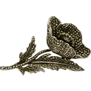 A Large Vintage Silver Rhodium Plated Marcasite Poppy Flower Brooch Pin, Remembrance day Poppy