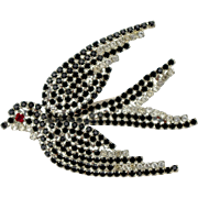 A Large Vintage 1970s Rhinestone Crystal Swallow Brooch Pin
