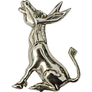 A Large Vintage Mexican Sterling Silver Donkey Burro Animal Brooch Pin
