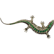 A Rare Large Victorian Sterling Silver and Green Paste Lizard Brooch Pin