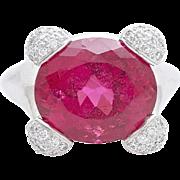 A Rare Vintage Crimson Coloured 8,5 Carat Rubellite and Diamond Ring