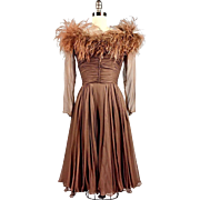 A Vintage 1950s Brown Chiffon and Ostrich Feather Cocktail Party Dress