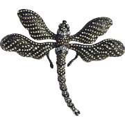 Large Vintage 1970s Rhinestone Crystal Signed Ciner Dragonfly Insect Bug Beetle Brooch Pin