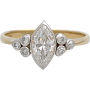 A Vintage 1940's 1,20 carat Marquise Diamond Solitaire With Accents Ladies Ring