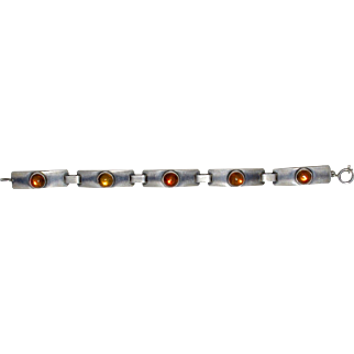 An Antique German 835 Silver and Baltic Amber Link Bracelet, Signed GK, Georg Kramer, Fischland Jewelry
