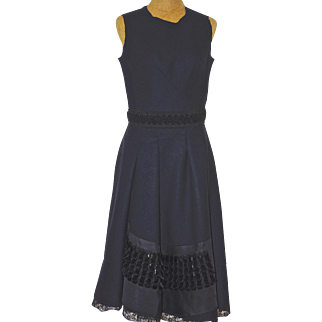 A Vintage MARNI Black Wool Cocktail Dress With Beaded Waist and Hem