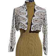 An Original 1920's Short Cream Silver Beaded Evening Bolero Shrug
