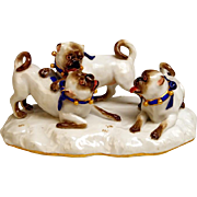 Meissen Porcelain Pug Dog Figural Group