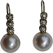 A Vintage Pair of Diamond and Pearl Drop Earrings