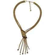 A Vintage 1950's Signed Hobe Goldtone and Rhinestone Necklace