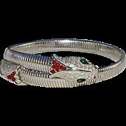 Rare Silver Tone Vintage Trifari Garden of Eden Snake Necklace Armband