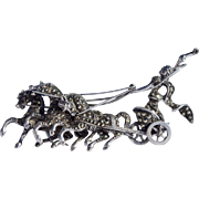 A Sterling Silver Marcasite Brooch Pin of the Titan Helios Driving the Chariot of the Sun