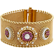A Unique Vintage Art Deco Wide Gold Mesh Diamond and Ruby Bracelet