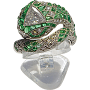 A Vintage 1950s Columbian Emerald & Diamond Solitaire Snake Serpent Ring