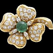 A Vintage Diamond Emerald Cabochon Four Leaf Clover Brooch
