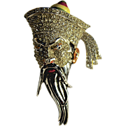 A Rare Vintage 1941 Coro Rhinestone Crystal and Enamel Asian Scholar Brooch Pin