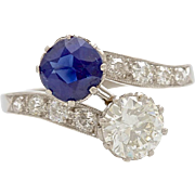 Vintage Art Deco 1920's Sapphire and Diamond Platinum Crossover Ring