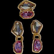 A Vintage Oscar De La Renta Drop Clip On Earring and Ring Demi Parure