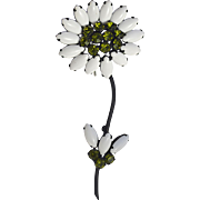 A Large Vintage Signed 'Weiss' White Milk Glass Flower Brooch Pin