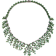 A Unique Vintage Emerald Statement Collar Necklace set in 14k Gold Plated Sterling silver