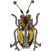 A Vintage Czech Glass and Rhinestone Insect Brooch Pin