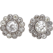 A Pair of 1920's Diamond Halo Stud Earrings