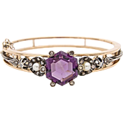 An Antique Amethyst Diamond and Pearl Bangle Bracelet set in 14KT Rose Gold