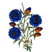 "A Vintage signed 'Exquisite"" Blue Corn Flower Brooch Pin from the Birthday Collection"
