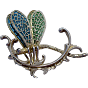A Delicate Vintage Art Nouveau 900 Silver and Glass Enamel Plique a jour Dragonfly Brooch