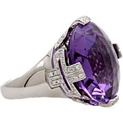 A Vintage Bvlgari Parentesi Amethyst Cocktail Statement Ring with Diamonds