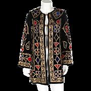 An Antique 1900s Embroidered Black Velvet Jacket