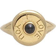 A Vintage Signed Tabbah Beret I Love You ring, 18KT Gold and Sapphire Cabochon Ring,