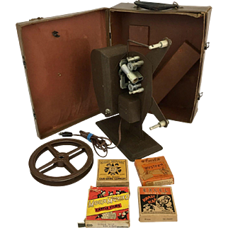 Antique 16mm Excel and Castle Films Movies in Original Boxes Including Our Gang, Western, Mouse Movies and Krazy Kat - Antique Brite Projector – Antique Trunk Custom Built for this particular Brite Projector