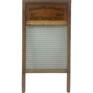 """National Washboard Company Rippled Glass and Wood Washboard No 860 ca 1900-1940 Chicago Saginaw Memphis """"The Glass King"""" Model, """"Top Notch"""" notched on the back"""