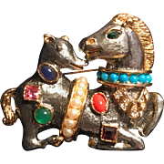 Kenneth J. Lane Fantasy Horse and Hound Brooch Pin