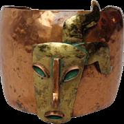 Vintage Casa Maya Copper Cuff Bracelet Aztec Mask Green Enamel