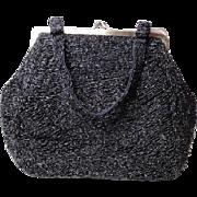 1940s Graceline Master Purse Evening Bag Beaded Black