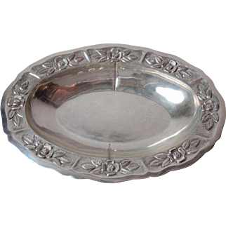 Maciel Sterling Silver Oval Bowl Hand Hammered Repousse Flowers