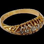 Georgian 18 carat gold 5 diamond ring 1833