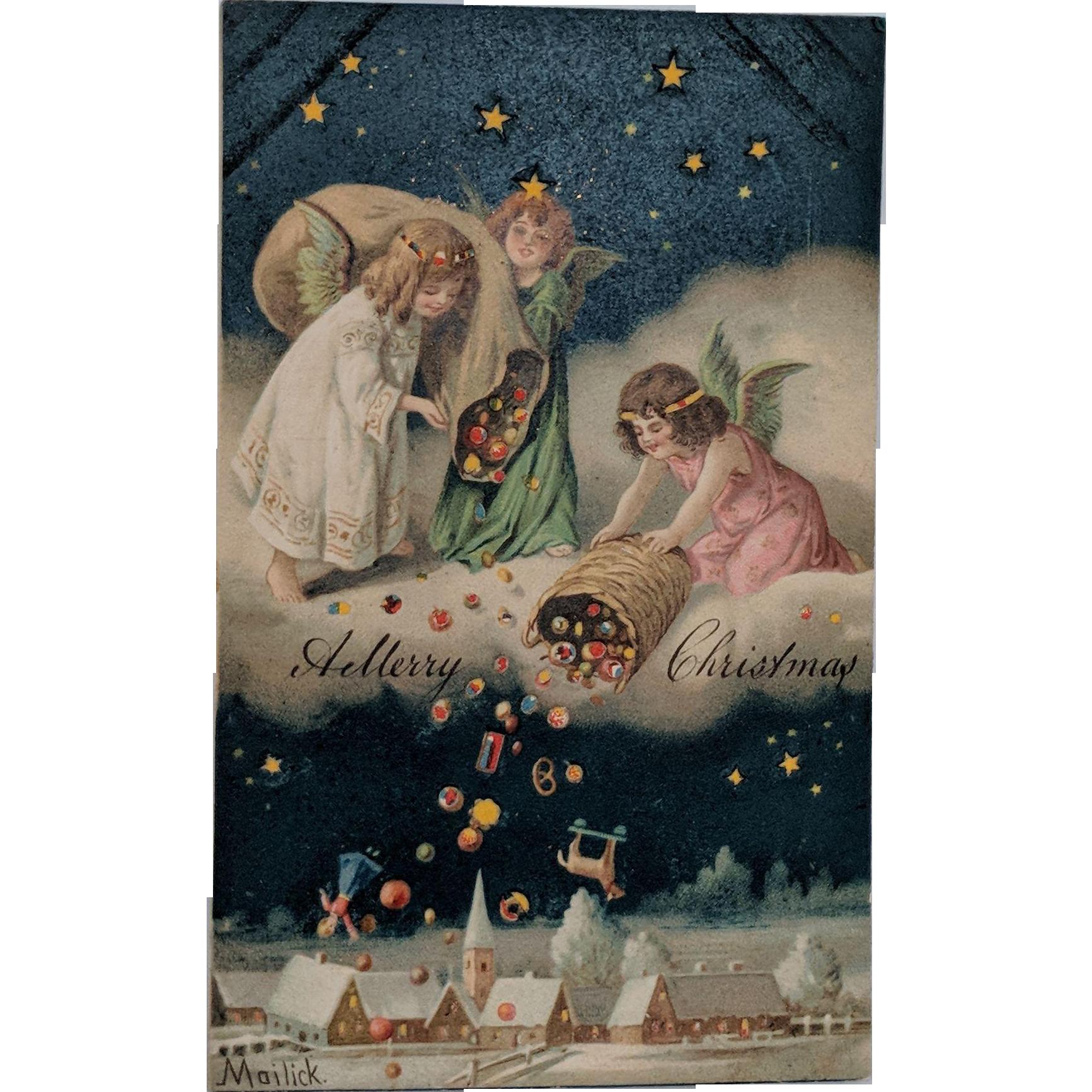Hold To Light Mailick Christmas Postcard