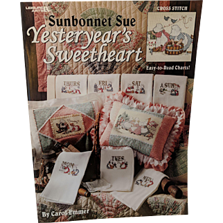 "Cross Stitch Book-Leaflet By Carol Emmer ""Sunbonnet Sue, Yesterday's Sweetheart"""