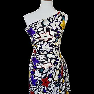 Vintage 1980s One Shoulder Floral Silk Gown by Joan Leslie for Kasper