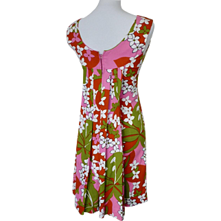 Vintage 1960s Tiki/Tropical Hawaiian Print Mini Dress with Train