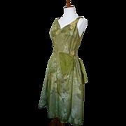 Vintage 1950s Green Floral Organza Cocktail Dress