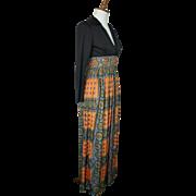 Vintage 1960s Empire Exotic Print Maxi Dress