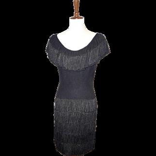 Vintage 1960s Edith Flagg Black Wiggle Dress with Fringe