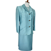 Vintage 1950s Turquoise 3-Piece Faux Shantung Suit by Robal