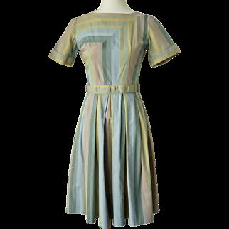 Vintage 1950s Pastel Stripe Day Dress by Dianne Dunbar