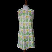 Vintage 1960s Floral Print Vested Gentress Dress
